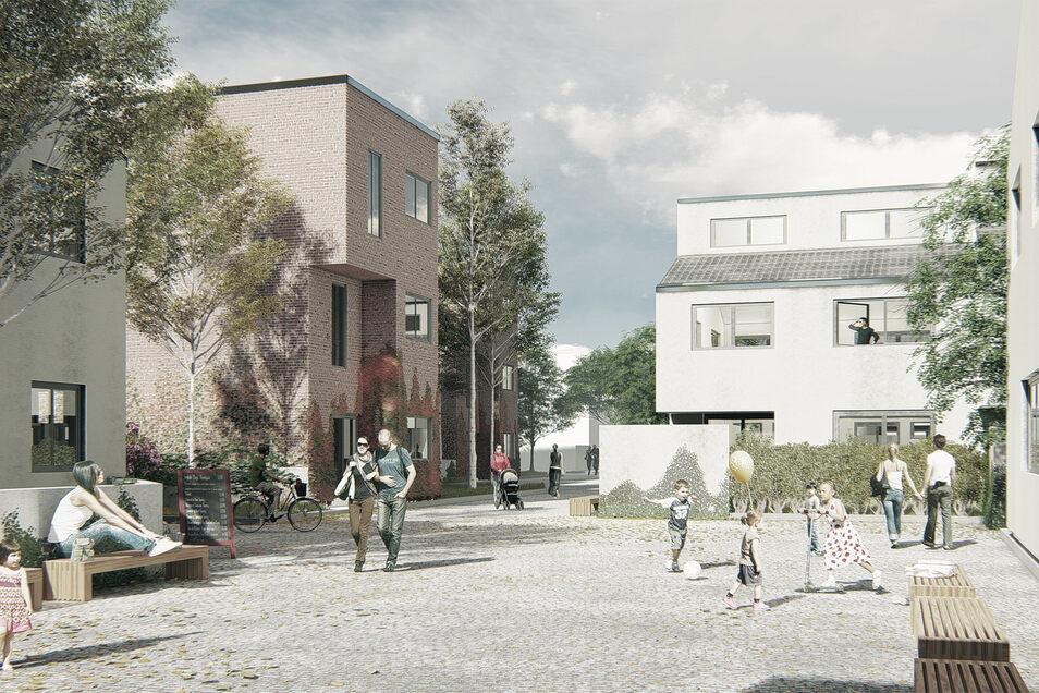 So könnte es mitten in der geplanten Siedlung auf dem Brauereigelände einmal aussehen.