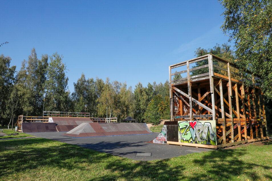 Ein Blick auf einen Teil des wieder flottgemachten Skateparks in Zittau-Ost.