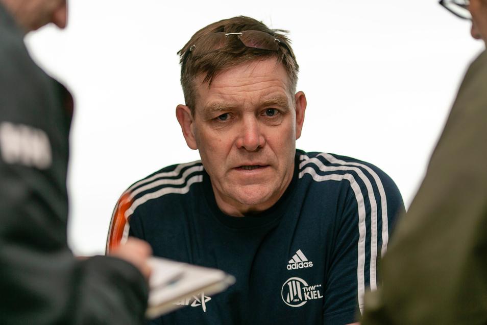 Alfred Gislason bei einem Pressetermin zu seinen Zeiten als Coach des THW Kiel.