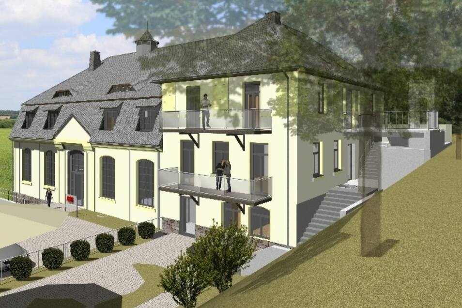 Ergänzt wird der Altbau durch einen Neubau für die Wohnungen, der sich im Bereich Promenade einfügt.