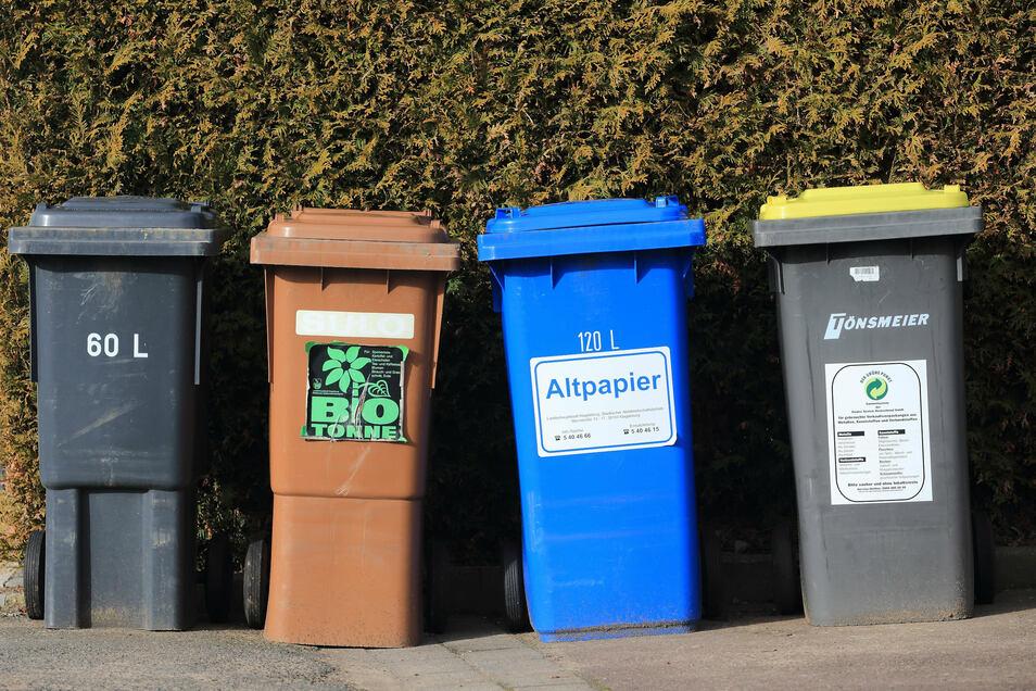Tonnen für Hausmüll, Bioabfälle, Altpapier und Wertstoffe stehen zur Entsorgung von Abfällen bereit.