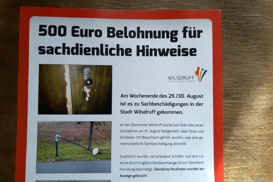 Mit diesem Einleger im Amtsblatt bat die Stadt Wilsdruff um Hinweise, um die Täter zu ermitteln.