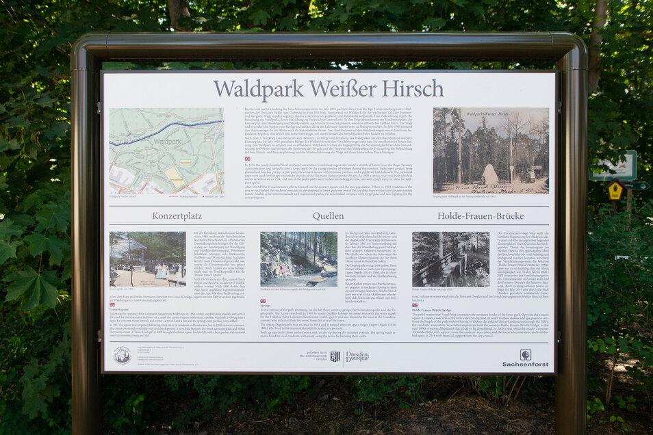 Diese neue Infotafel am Eingang zum Waldpark zeigt, wie der Park einst entstanden ist.