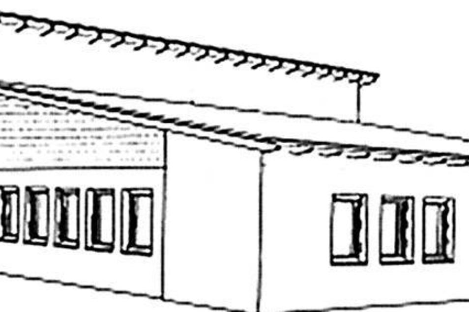 So könnte das neue Gerätehaus für Klingenberg aussehen. Es wird ein nüchterner Zweckbau mit zwei Garagen. Skizze: Ruhsam & Ullrich