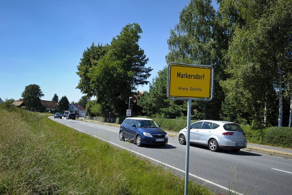 Blick auf die B6 in Markersdorf.