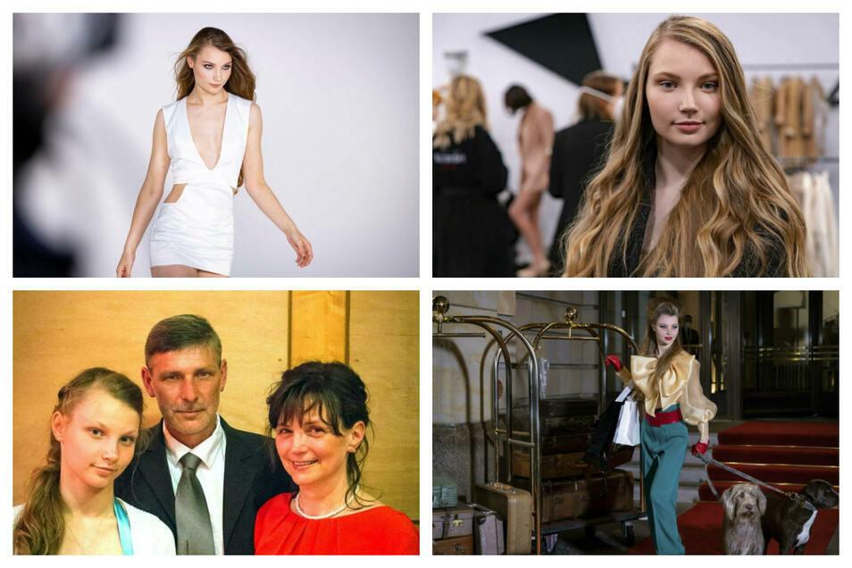 """Bilder mit ihren Eltern und von ihren Auftritten bei """"Germany's Next Top Model""""."""