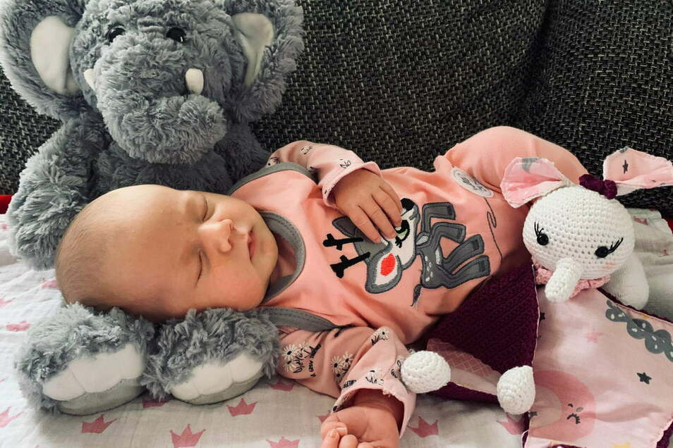 Ella Frida Ursula Leischow, geboren am 10. Oktober, Gewicht: 3390 Gramm, Größe: 49 Zentimeter, Geburtsort: Diakonissenkrankenhaus Dresden, Eltern: Madlen Leischow und Jens Richter, Wohnort: Arnsdorf