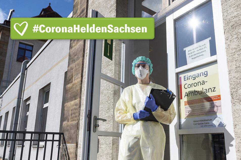 Ärztin Dr. Sarah Dräger vor der Dresdner Corona-Ambulanz.