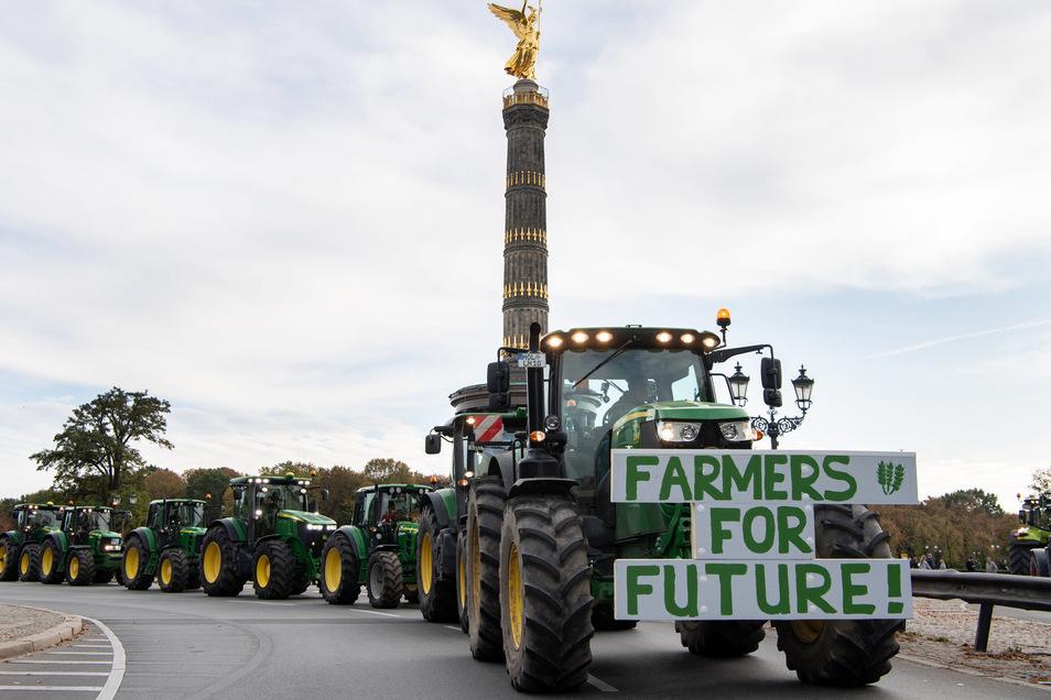 Mit TRaktoren wurde auch in Berlin demonstriert.