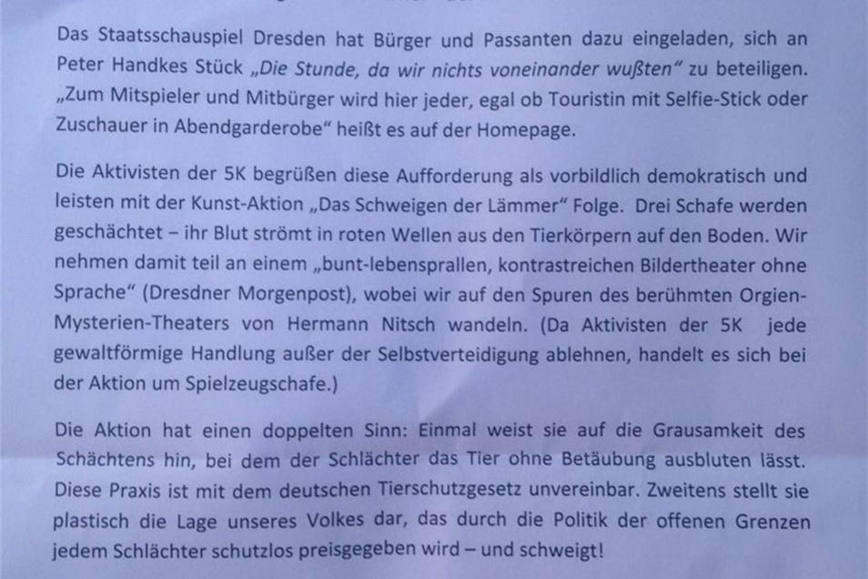 """Das """"Bekennerschreiben"""" der Störer vom Theaterplatz."""