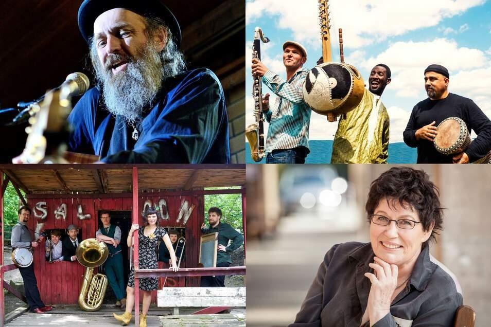 Sie treten unter anderem beim Mandaujazz auf: Paul Batto Jr., JMO, Nina's Rusty Horns, Uschi Brüning & Lukas Natschinski (von oben links nach unten rechts).