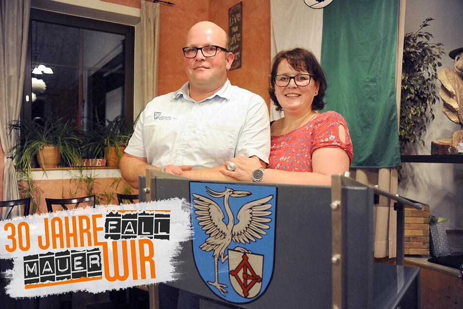 """Bei der """"Silberhochzeit"""" der Gemeindepartnerschaft von Schwarzkollm und Heinersreuth in diesem Jahr feierten Susanne Knopf-Jurisch und Thomas Jurisch auch ihre persönliche Beziehung."""