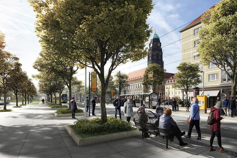 So soll die größere Haltestelle am östlichen Promenadenring am Pirnaischen Platz aussehen.