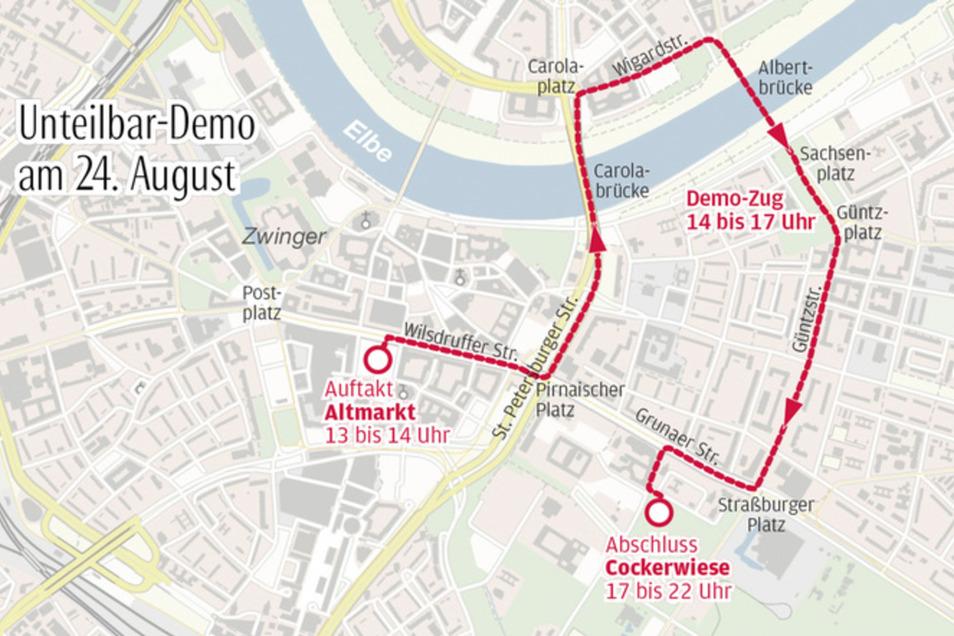 Der Verlauf der Demoroute am 24. August
