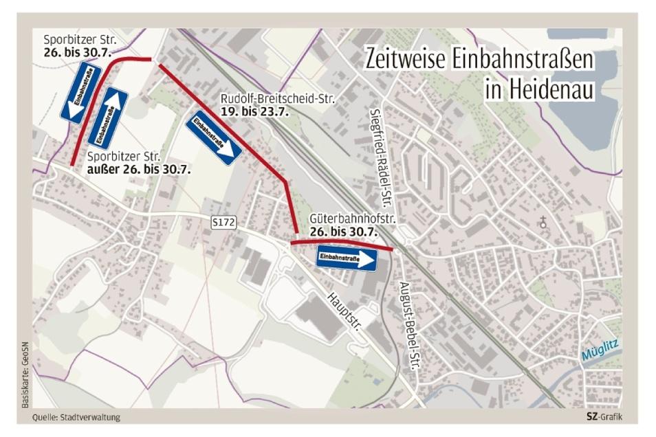 Einbahnstraßen dort, wo es sie sonst nicht gibt: Heidenau vom 19. bis 30. Juli.