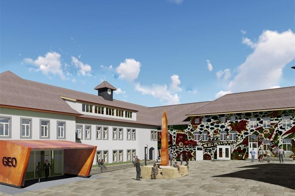 So soll der Innenhof des neuen Besucherzentrums in Dorfhain aussehen. Sowohl Eingangsbereich als auch die Fassade des Quergebäudes werden sich noch verändern. Ziel ist es, mit der Zertifizierung zum nationalen Geopark im Jahr 2020 hier künftig alljährlich