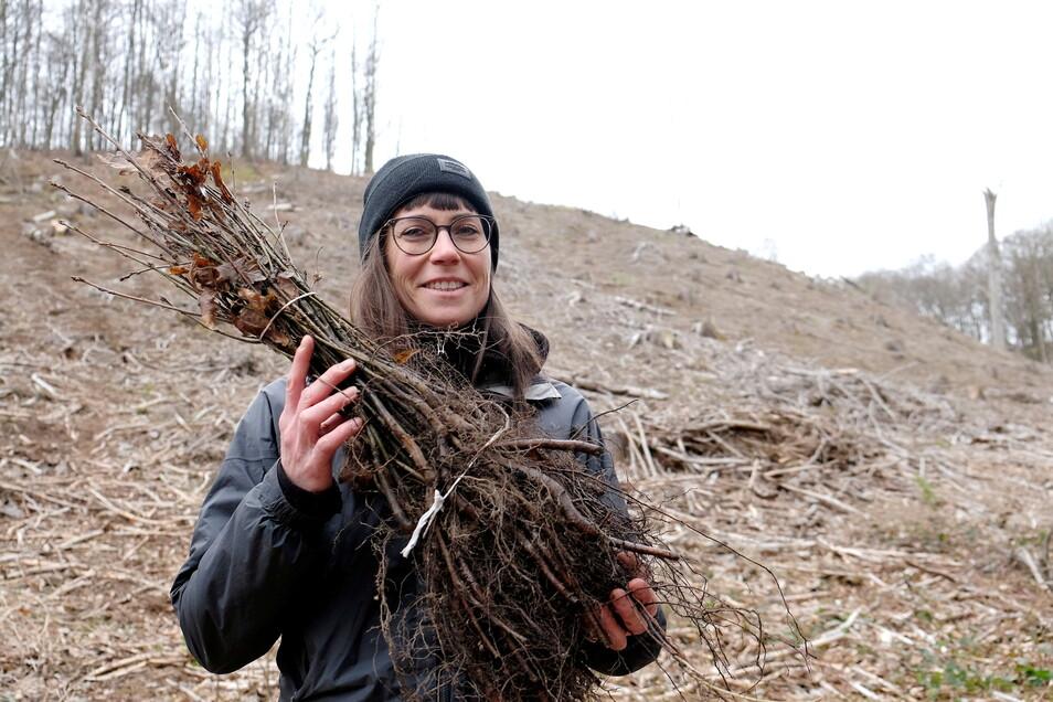 Katharina Kretschmar leitet die Aufforstung. Das Gelände sei zwar steil für ihre Mitarbeiter, dafür der Boden schön locker, um Löcher zu graben.