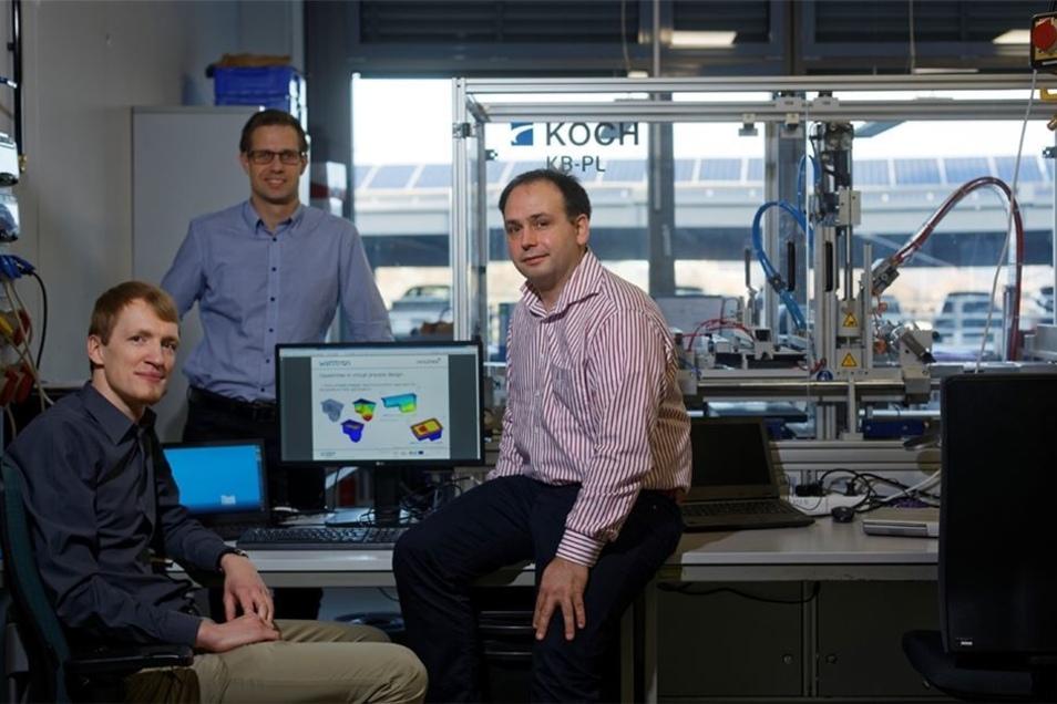 Das Unternehmen Wattron mit den Gründern Marcus Stein, Ronald Claus und Sascha Bach (v.l.) gehört zu den aufstrebenden Unternehmen im Freitaler Technologiezentrum. Obwohl erst 2011 gegründet, hat die Firma für ihre innovativen Heizsysteme und kostensparen