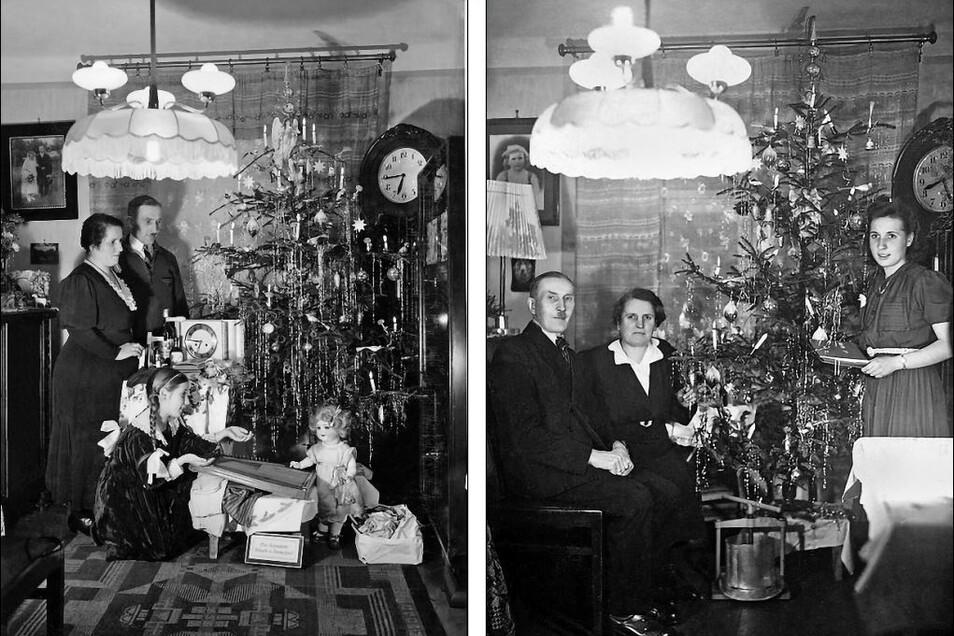 Der Vater von Ruth R., Jahrgang 1930, fotografierte sehr gern. Jedes Jahr zwischen 1929 und 1945 stellte Carl Moschkau die kleine Familie vor den Weihnachtsbaum und betätigte den Selbstauslöser. Das Foto links stammt von 1934, das Bild rechts von 1945: Ei