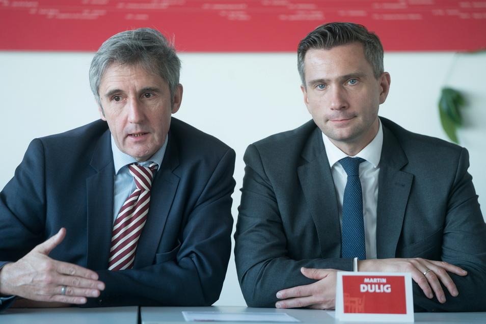 Frank Richter mit Sachsen-SPD Chef und Wirtschaftsminister Martin Dulig. Beide verstehen sich gut. Dulig hat Richter erfolgreich ins Rennen um ein Landtagsmandat für die SPD gebracht.