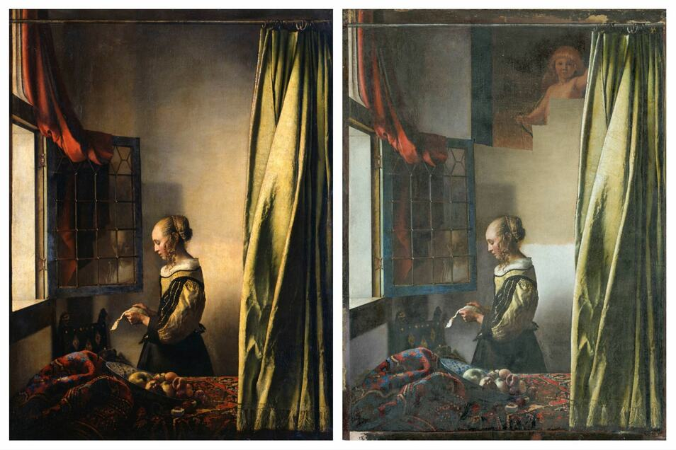 """Links: Johannes Vermeers """"Brieflesendes Mädchen am offenen Fenster"""", wie man es kennt. Rechts: Aktueller Zwischenzustand mit teilweise freigelegtem Bild im Bild."""