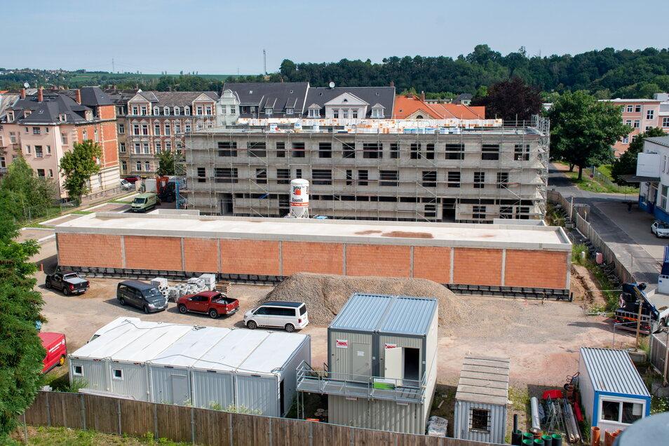Auf dem Areal an der Leisniger Straße entsteht neben einem Bürohaus auch in Garagenkomplex für die Einsatzfahrzeuge.