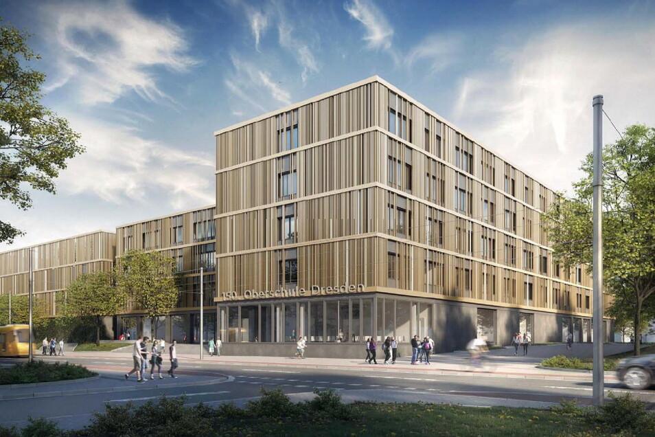 So soll der neue Schulkomplex an der Freiberger Straße aussehen. Doch anstatt einer neuen Oberschule soll dort im Sommer 2024 nun das Berufsschulzentrum für Wirtschaft einziehen.