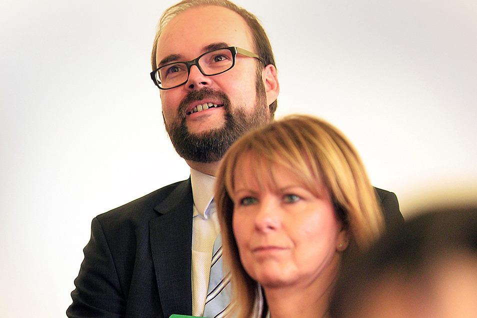 Kultusminister Christian Piwarz mit Schulleiterin Antje Ambos bei einer Veranstaltung in der Dohnaer Schule im vergangenen Jahr. Ist er im Januar 2021 hier wieder zu Gast?