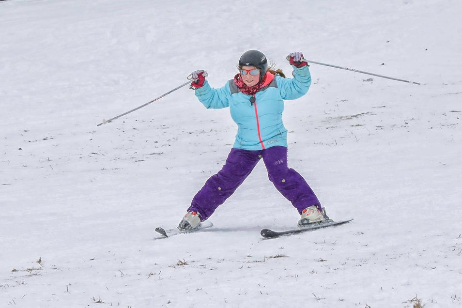 Das sieht doch schon gut aus: Die Skifahrt vom Lauschehang.