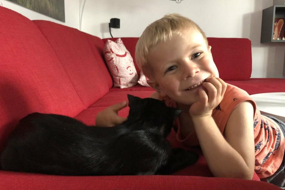 Der sechsjährige Leon hofft, bald wieder mit Maxi schmusen zu können.