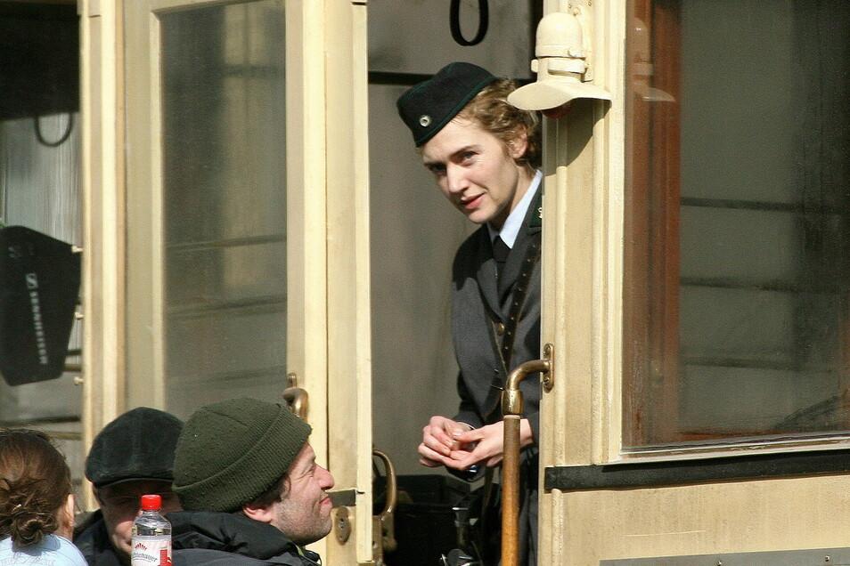 """Kate Winslet damals bei Dreharbeiten zu """"Der Vorleser"""" in Görlitz."""