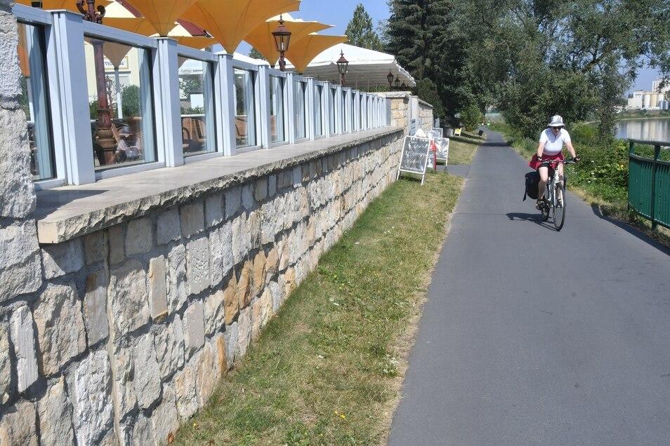 Fast nicht zu erkennen ist die Hochwasserschutzmauer – und die Gäste der Villa Else sehen die Elbe dank der Fenster.