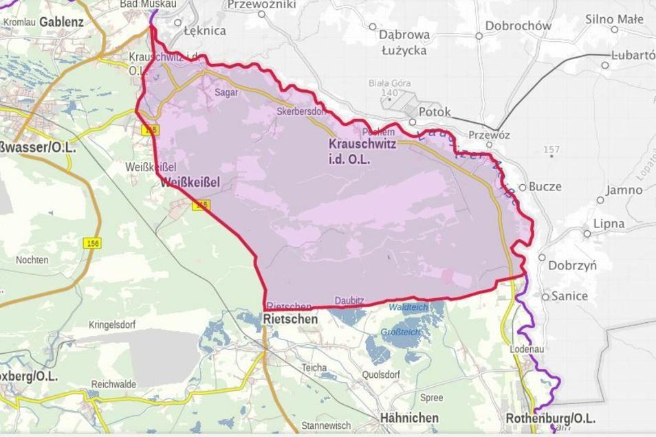 Das ist die jetzt festgelegte Restriktionszone im Landkreis Görlitz. Hier darf nicht gejagt werden.
