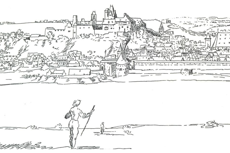 Die Zeichnung von Wilhelm Dilich aus dem Jahr 1628 zeigt den Pirnaer Sonnenstein mit der Burg.