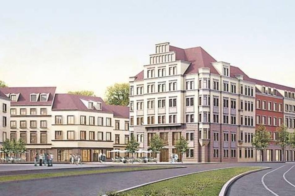 Eine schmalere St. Petersburger Straße und Kleinteiligkeit statt DDR-Platten: Ansicht des Rathenauplatzes aus Richtung Carolabrücke. Rechts ist die Synagoge zu sehen.