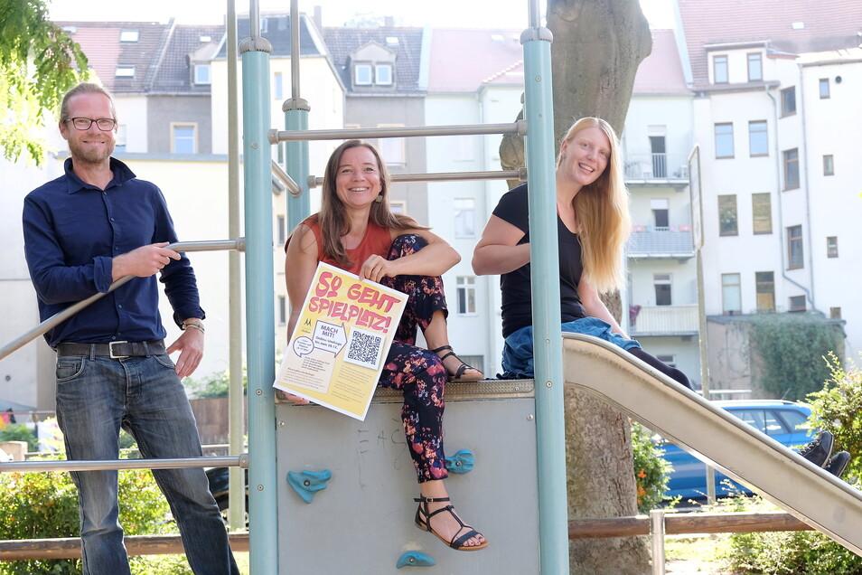 Wollen für noch mehr Spaß auf den Meißner Spielplätzen sorgen und dafür die Nutzer direkt befragen: Matthias Ebeling, Katrin Nestler und Bianca Schöne.