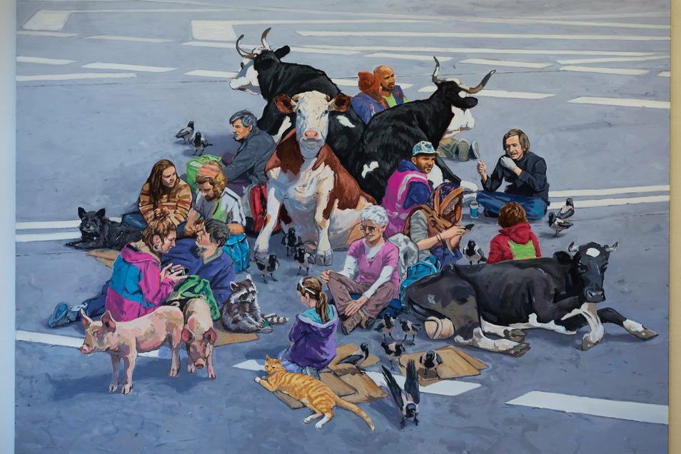 """In Hartmut Kiewerts Gemälde """"No Cars Go"""" treffen sich Mensch und Tier auf einer leeren Straße."""