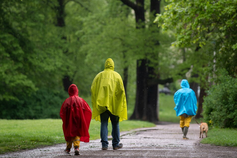 Spaziergänger gehen in bunten Regenmänteln durch den Clara-Zetkin-Park in Leipzig. Das Wetter bleibt in Sachsen verbreitet regnerisch.