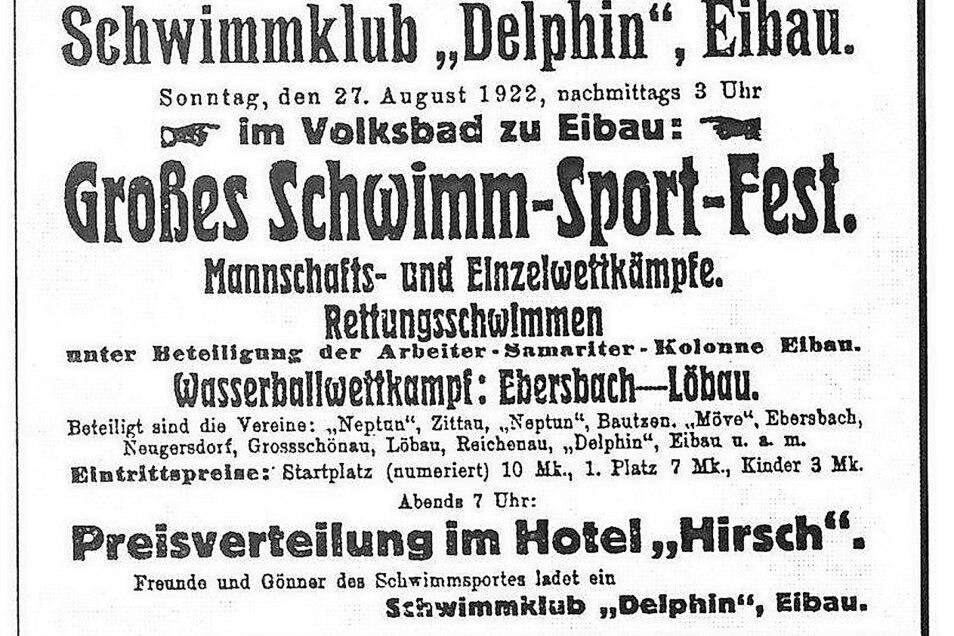 """Schwimmfeste gehören zur Eibauer Badtradition: Nebenstehende Anzeige in der """"Oberlausitzer Dorfzeitung"""" warb für ein solches Ereignis im August 1922. Zur Eröffnung 1920 hatte der Oberlausitzer Schwimmgau ein Wettschwimmen organisiert."""