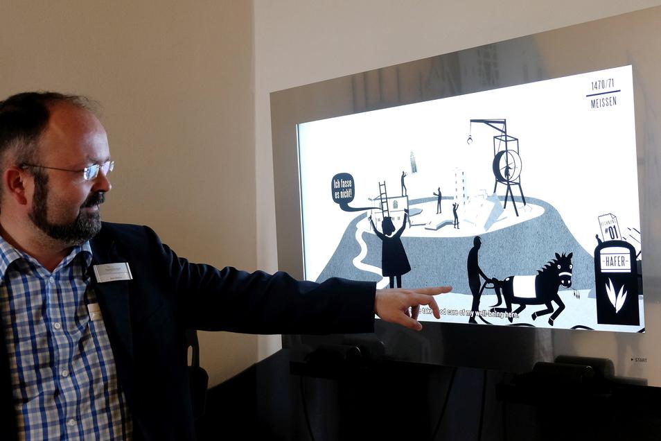 Ein Trickfilm in der Dauerausstellung der Albrechtsburg bringt uns den Alltag Arnold von Westfalens ganz praktisch näher. Das Pferd war der Dienstwagen des 15. Jahrhunderts. Es brauchte Hafer, Wasser, Pflege.