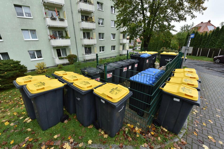 """Im Wohngebiet """"Auf der Scheibe"""" wurde gut ein Dutzend Tonnen pro Müllplatz aufgestellt."""