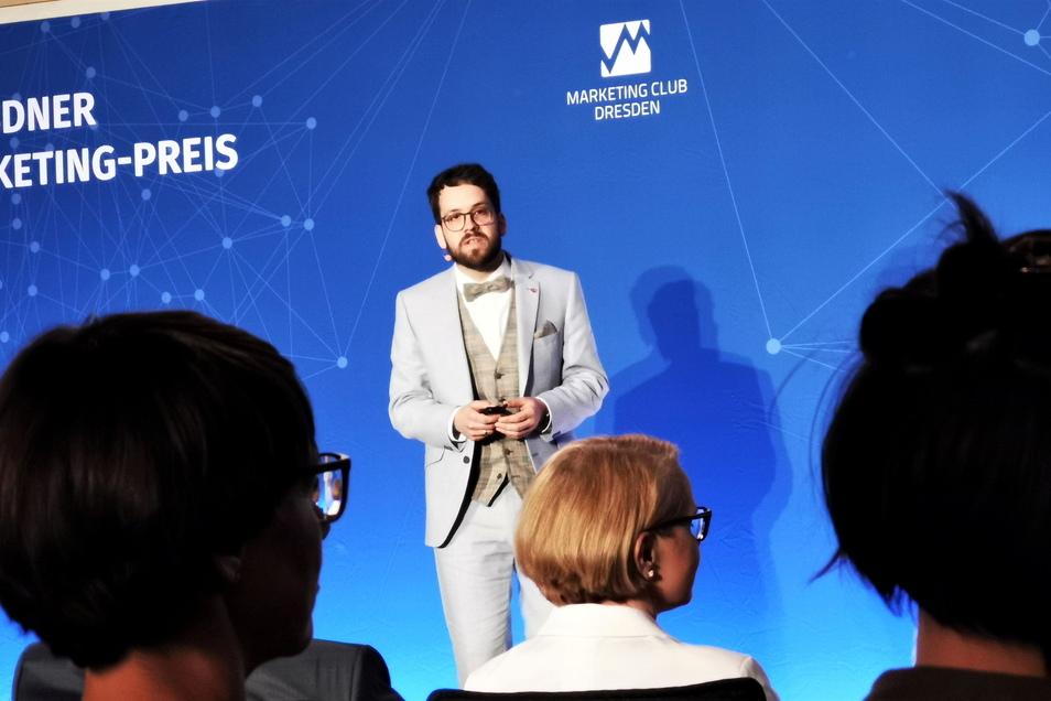 Pirnas Stadtmarketingleiter Robert Böhme bei der Preisverleihung in Dresden: Zeigen, dass es sich lohnt, nach Pirna zu kommen.