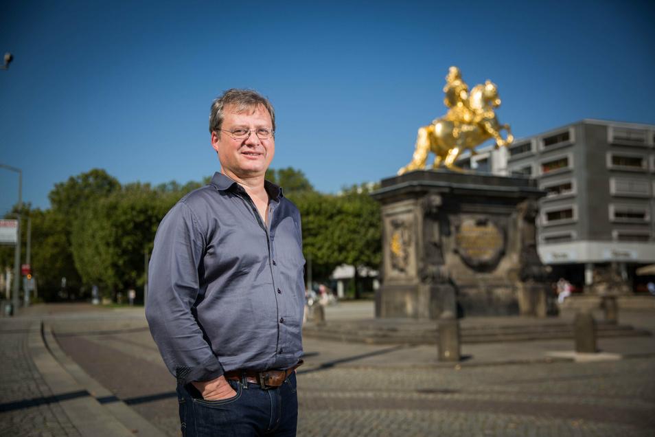Torsten Kulke ist der Chef der Gesellschaft Historischer Neumarkt. Er lehnt die Unterschutzstellung des Neustädter Marktes als Denkmal ab. Foto: Sven Ellger