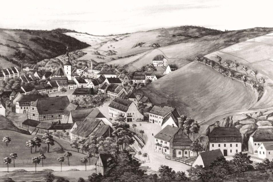 So sah Glashütte um 1855, zehn Jahre nach der Gründung der ersten Manufaktur aus.