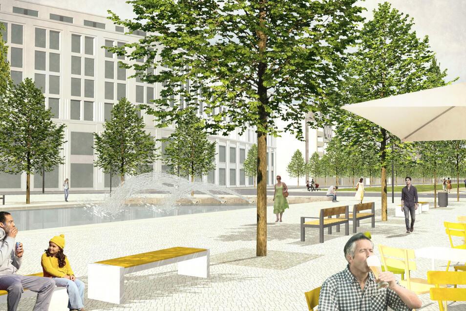 Unter Bäumen sitzen und das Wasser sprudeln hören: Der Dresdner Postplatz soll vor den neuen Mary-Ann-Apartments mehr Aufenthaltsqualität erhalten.