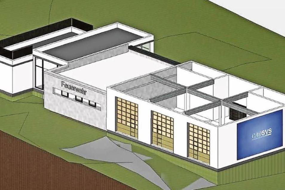 Die Visualisierung zeigt, wie die das neue Gerätehaus aussehen könnte.