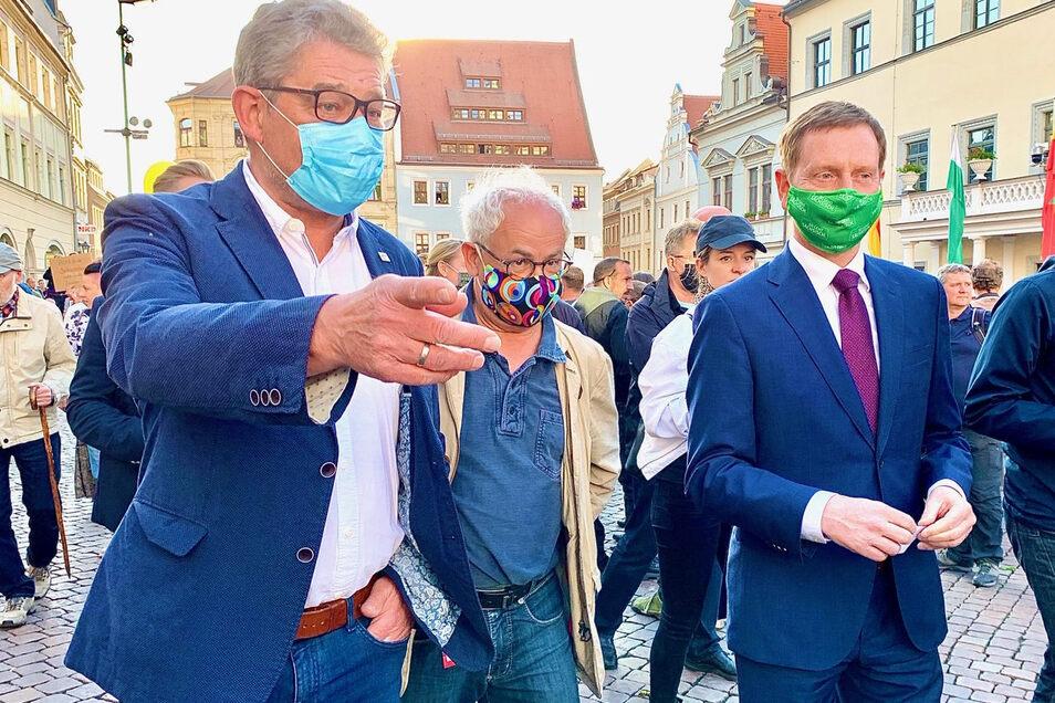 Oberbürgermeister Hanke, Schauspieler Pauls, Ministerpräsident Kretschmer: Wunsch nach vollen Gasthäusern und vielen Besuchern in der Sächsischen Schweiz.