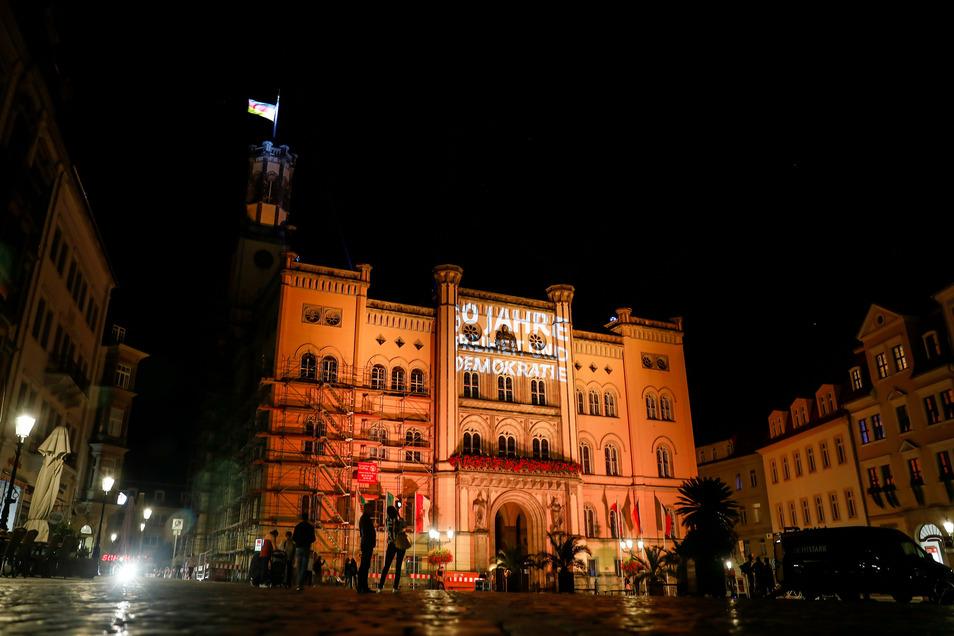 So sah das Zittauer Rathaus am Sonnabendabend aus.