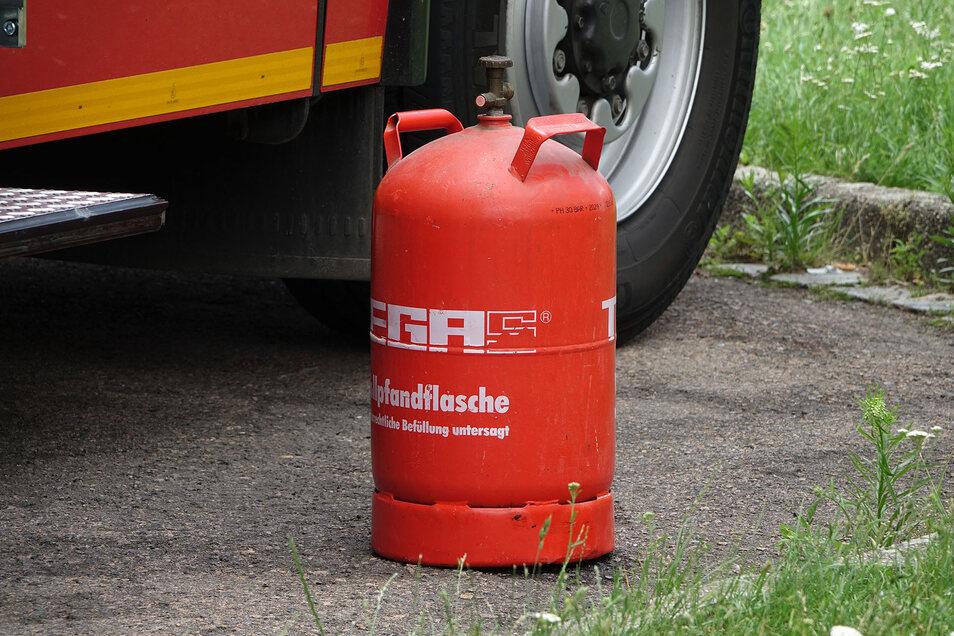 Aus dieser 11 Kilogramm schweren Propangasflasche war Gas ausgetreten.