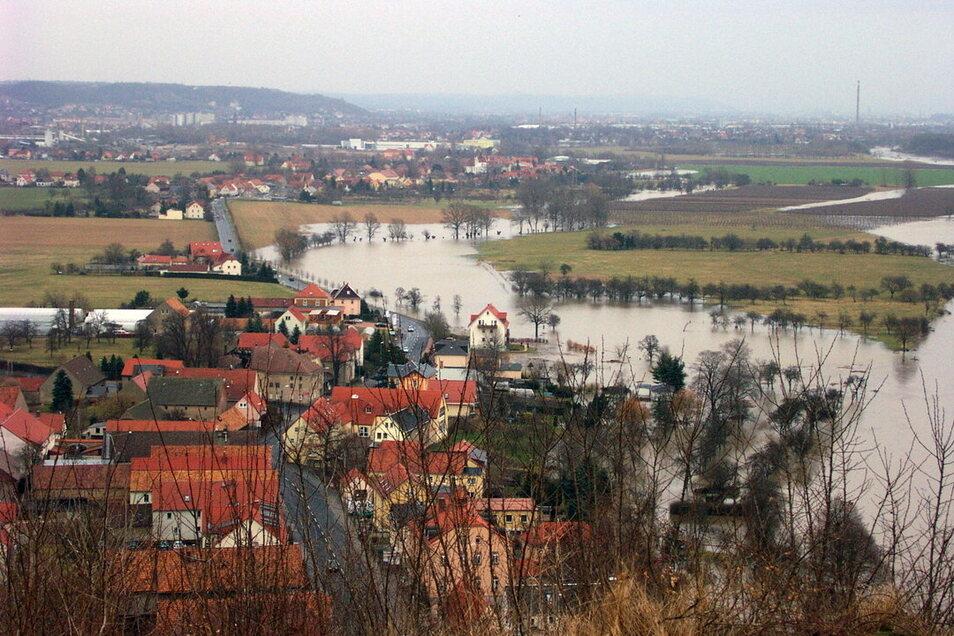 Das Foto zeigt die Elbe bei Sörnewitz. Die Streuobstwiesen stehen auf einer Sedimentablagerung, die in den letzten hundert Jahren entstanden ist.